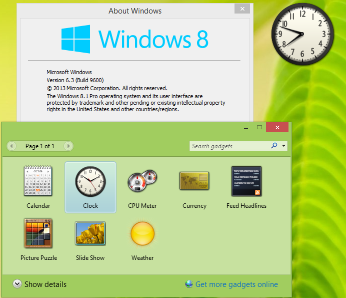desktop gadgets in Windows 81.
